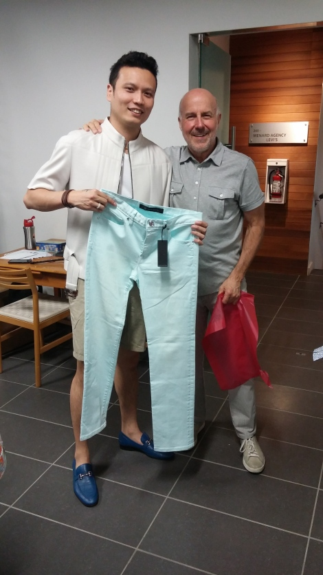 photo with Kent and the David Bitton Pants I bought!
